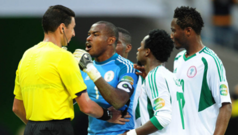 caf fires referee for awarding penalty in nigeria zambia