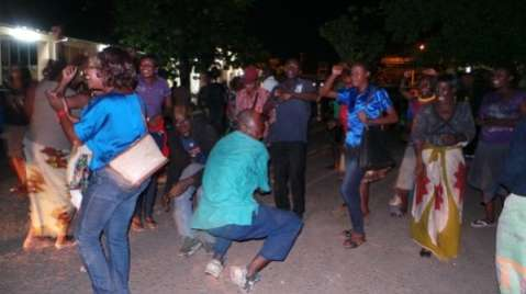 PF cadres celebrate awaiting final results at Livingstone National Museum