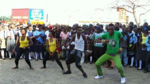 Rich Bizzy and dancers at the PF victory party in Livingstone_Lusakavoice.com