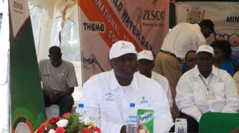 ZESCO managing director Cyprian Chitundu concentrates during the commemoration of world water day at Levy junction last Friday