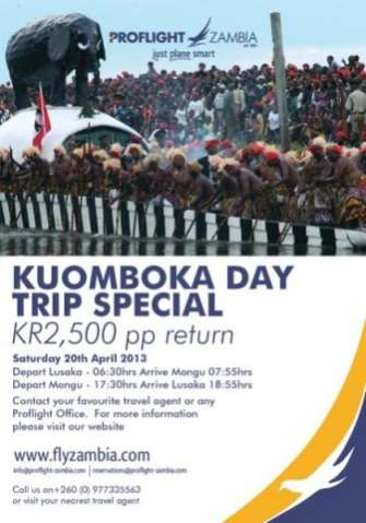 2013  KUOMBOKA DAY-TRIP THIS SATURDAY ProFilght