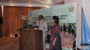 Finance minister Alexander Chikwanda and UNDP country representative Kanni  Wignaraja at the launch of the 2013 MDG launch at Taj Pamodzi hotel