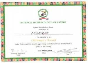 National Sports Council of Zambia AWARD CERTIFICATE