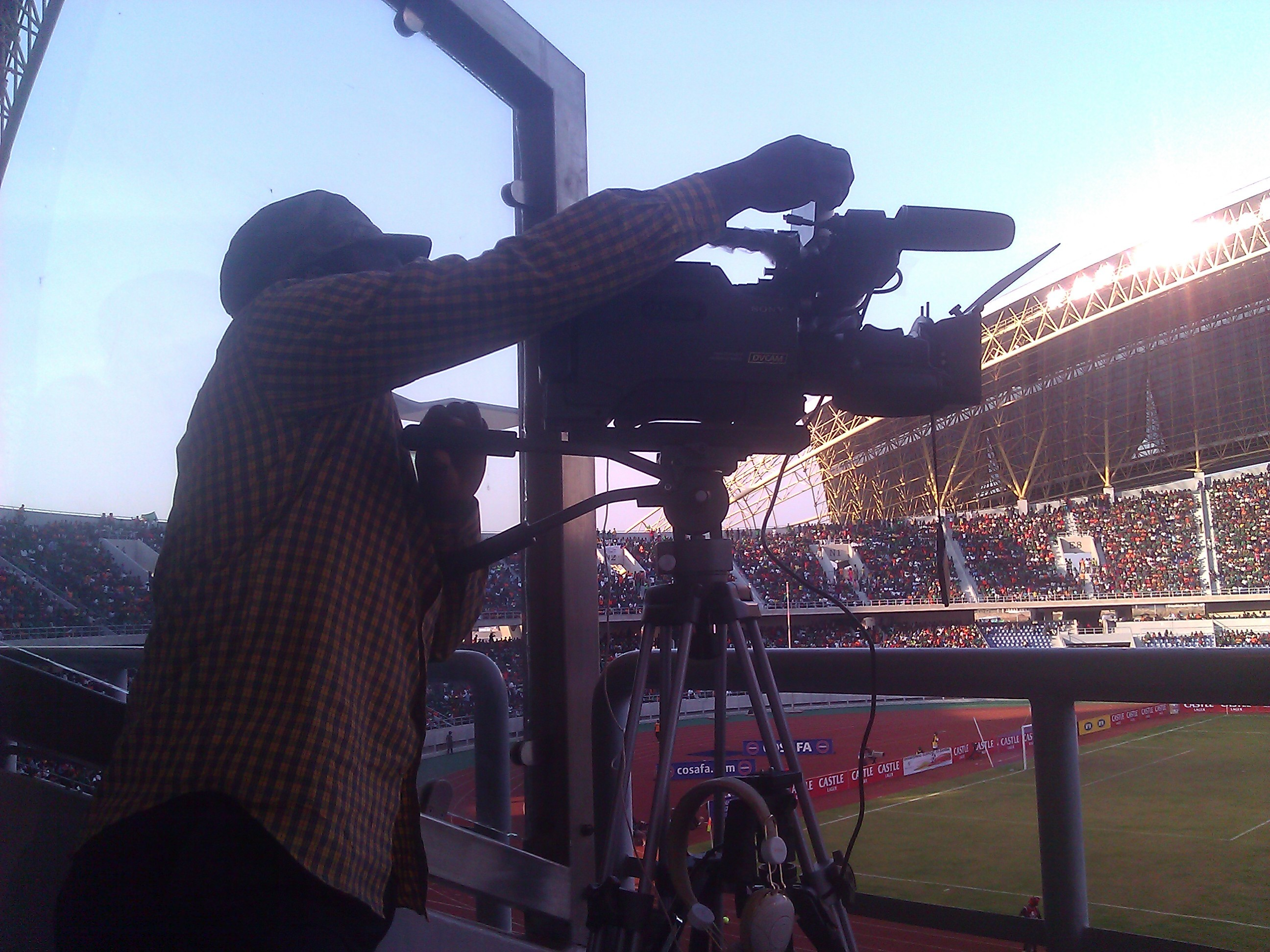 Lusaka Voice Camera Crew  at the  Zambia 2-0 Zimbabwe - Chipolopolo Cosafa Cup championship Game
