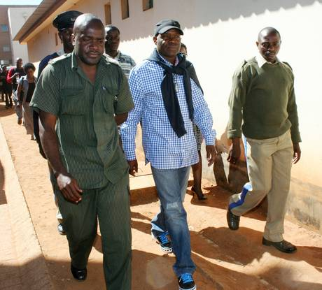 The Post editor Fred M'membe leaving court on Friday 4 June 2010 after receiving a four month prison sentence for contempt of court. Photo courtesy of The Post