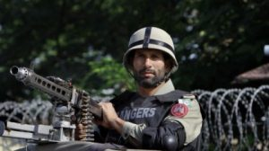 Pakistani paramilitary soldier stands alert outside an anti terrorism court where former President a …