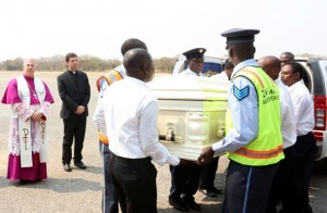 Cardinal Mazombwe's body flown to Chipata
