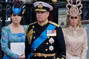 Prince Andrew and his daughters Britain's Princess Eugenie and Princess Beatrice
