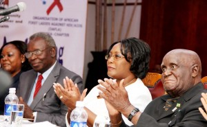 Maureen Mwanawasa, Health minister Dr Joseph Kasonde, First Lady Dr Christine Kaseba and Dr Kaunda during the stakeholders' Conference -Picture by THOMAS NSAMA.jpg