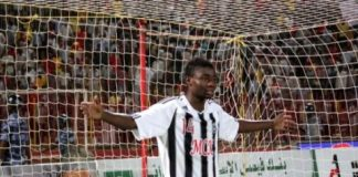 Nathan Sinkala celebrates after scoring a crucial goal for Mazembe against Al Merreikh in 2012