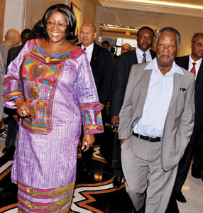 President Michael Sata and First Lady Dr Christine Kaseba leaves New York Palace Hotel during his departure from New York on September 28,2013- Picture by THOMAS NSAMA