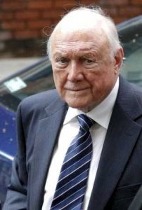 Stuart Hall arriving at Preston Crown Court where he was jailed for sexually abusing 13 victims