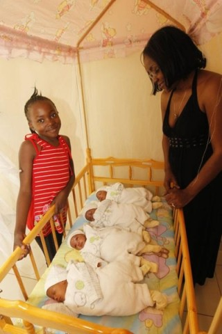 Quadruplets, Natasha, Lombe, Chisanga and Lukundo were born to Shabi and Terrence Mulenga on Zambia's independence eve last year.