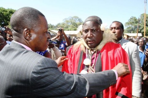 Former MINISTER of Justice Wynter Kabimba bestows Chieftainship on Chief Mukobela the 4th of the Ila-speaking people of Baambwe in Namwala during a colourful ceremony. - Picture by BRIAN MALAMA