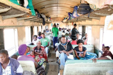 PASSENGERS aboard the Mulobezi-Livingstone train
