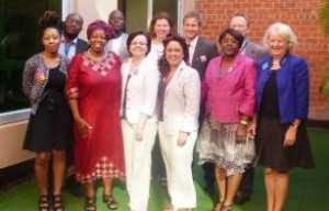 PCB Delegation in Lusaka. From left to right: Ms Ebony Johnson (NGO Delegation), Dr Tapuwa Magure (Zimbabwe), Ms Sheila Tlou (UNAIDS), Mr Joel Nana (NGO Delegation), Ms Joanna Glazewska (Poland), Ms Helen Frary (UNAIDS), Ms Cristina Raposo (Brazil), Mr Morten Ussing (UNAIDS), Ms Fenande Mvila (Congo), Mr Alastair Mckenzie (Australia), Ms Jan Beagle (UNAIDS).