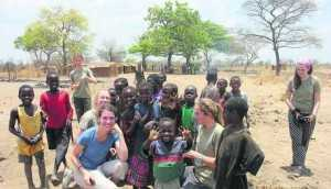 The St Mary's School students enjoy a game with youngsters in Zambia
