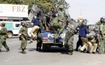 Zambia Police in Riot gear