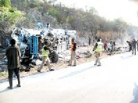 Fourteen people have died while fifty four others have sustained serious injuries after the Scania Marcopolo bus Reg No. ABA 4611 belonging to Ronsil Transport they were travelling in fell into a deep ditch at Luangwa Bridge along the great east road.
