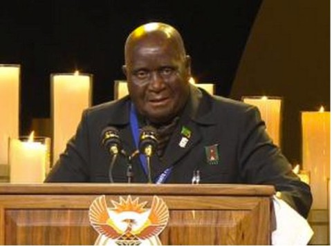 A screengrab taken from the SABC live feed shows Zambia's President Kenneth David Kaunda speaking during the funeral service for Nelson Mandela in Qunu. Photo: AFP/SABC