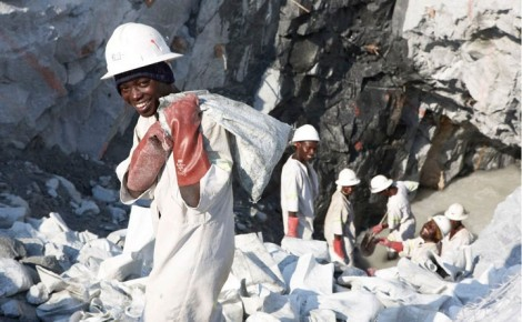 Gemfields' mine workers in Kagem, Zambia