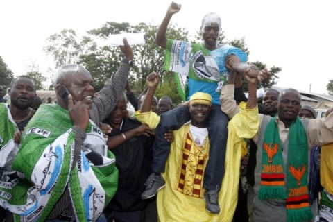 File pic-PF parliamentary candidate Steven Masumba lifted shoulder high by party supporters after he was declared winner of the Mufumbwe By Elections at Mufumbwe District Council on Friday 9:11:12