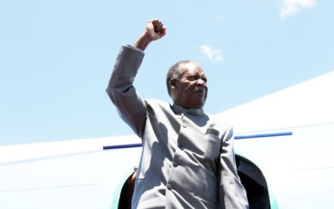 PRESIDENT SATA ON ARRIVAL IN MANSA -PICTURE BY EDDIE MWANALEZA — at Mansa District, Zambia.