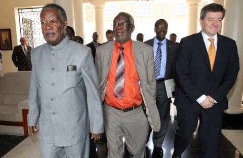 President Michael Sata with Guy Ryder, Director General Of International Labour Organization and Labour Minister Fackson Shamenda at State House