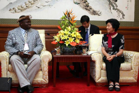 Wang Zhizhen (R), vice-chairwoman of the National Committee of the Chinese People's Political Consultative Conference (CPPCC), meets with Chief Madzimawe