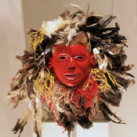 paint, feathers, metal and wool mask from the Chewa people in Malaw