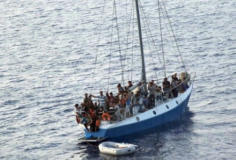 An earlier boatload of migrants rescued by the Italian Coast Guard