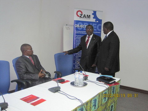 Dr. Bright Chunga, PS MCTI (Mr. Stephen Mwansa) and Mr. Channce Kabaghe