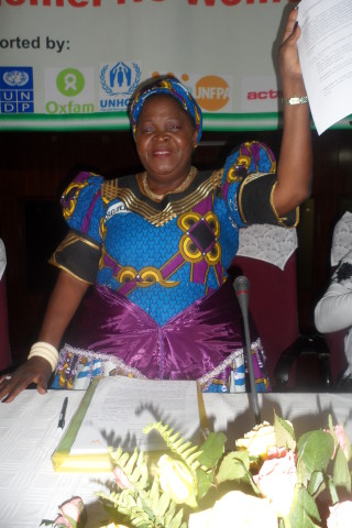 The Chairperson of NGOCC Beatrice Grillo announced the declaration of women rights in the first draft constitution at Mulungushi conference centre