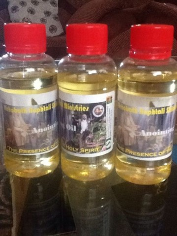 "Haggai Mumba offers bottled ""Holy Spirit anointing oil"" 