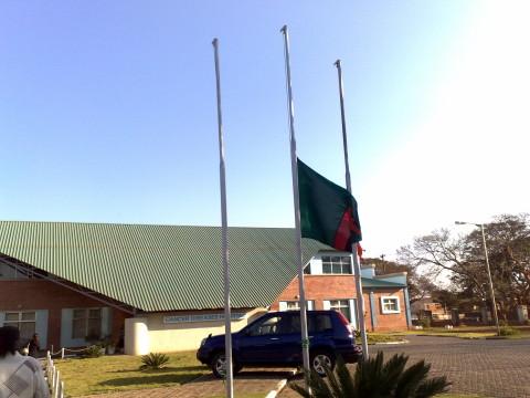 Zambia flag at half-mast