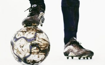 Soccer football and cleats