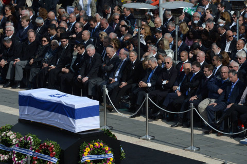 sraeli leaders and foreign delegates attend a state memorial service for Israel's former Prime Minister Ariel Sharon at the Israeli parliament, the Knesset, in Jerusalem on Jan. 13