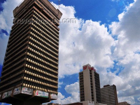 Lusaka, Zambia: Findeco, Zanaco and Indeco houses - Cairo Road skyscrapers seen from the Sapele Avenue side - Central Business District - photo by M.Torres