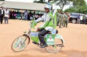 A PF cadre during a rally to drum up support for Katuba Constituency parliamentary candidate Moses Chilando -Picture by THOMAS NSAMA