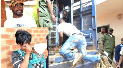 •CONTROVERSIAL singer Clifford Dimba popularly known as 'General' Kanene gets on a prison truck (Kasalanga) after he was found guilty of defilement by the Lusaka Magistrate's Court yesterday. (Insert Above) Kanene before his conviction while his wife (below) carrying their child breaks down. Pictures by CLEVER ZULU
