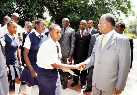 President Michael Sata greets Sioma High school pupils from Western province when they visited him at State on October 30,2013. The pupils are in Lusaka on an Education tour of State House, Parliament and the High Court. The pupils were led to State House by Sinjembela UPND member of parliament Njeulu Poniso and Education deputy minister Mulenga Chiponde -Picture by THOMAS NSAMA