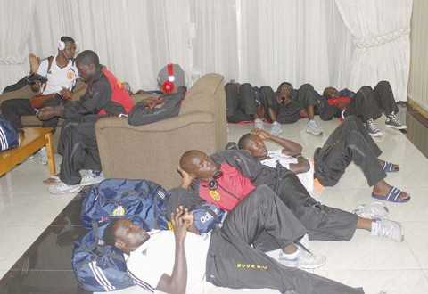 KAMPALA City Council Authority players relaxing in the lobby at Kenneth Kaunda International Airport in Lusaka on Wednesday. – Picture by CHANDA MWENYA.