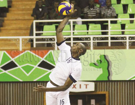 Kenya's Mike Chemos makes a fine save in their World Championships Qualifier match against Zambia . PHOTOS- DENNIS OKEYO : STANDARD]