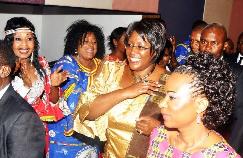 L-R: Congolese Musician M'bilia Bel, Élizabeth Tshala Muana Muidikay, alias Tshala Muana, First Lady Dr Christine Kaseba and Democratic Republic of Congo First Lady First Lady of DR Congo Olive Lembe Kabila after the closing of the Seventh First Spouses Roundtable of Comesa Summit at FLeuve Congo Hotel in Kinshasa, Democratic Republic of Congo on Feb 26,2014 -Picture by THOMAS NSAMA