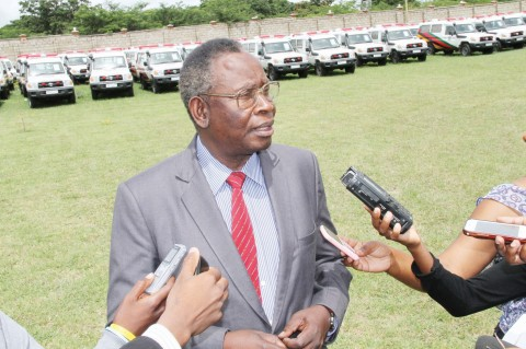 MINISTER of Health Dr Joseph Kasonde addressing journalists at Ndeke House in Lusaka on Wednesday when he flagged off the distribution of 98 ambulances to district hospitals across the country. - ANGELA MWENDA.
