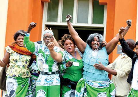NEWLY-ELECTED Patriotic Front Copperbelt Province chairlady Hildah Kawesha (second from right) celebrates her election victory outside Hindu Hall in Ndola yesterday. – Picture by SALIM HENRY/SHENPA