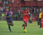 Nkana's Kelvin Mubanga and Njabulo Ndlovu of Mbabane Swallows