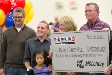 Mark and Cindy Hill hold a Powerball check with their three of their four children, Jarod, left, Cody and six-year-old Jaiden in Dearborn, Mo., Friday, Nov. 30, 2012 Read more: http://www.nydailynews.com/news/national/mo-powerball-winner-verified-ariz-s-mystery-article-1.1210787#ixzz2tkLmUIto