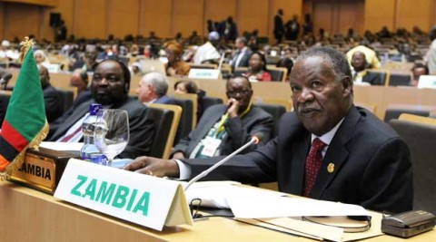 President Michael Sata addresses the African Union Summit in Addis Ababa yesterday. Picture by EDDIE MWANALEZA – State House