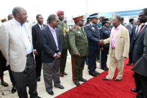 President Michael Sata  at Kenneth Kaunda International Airport from London